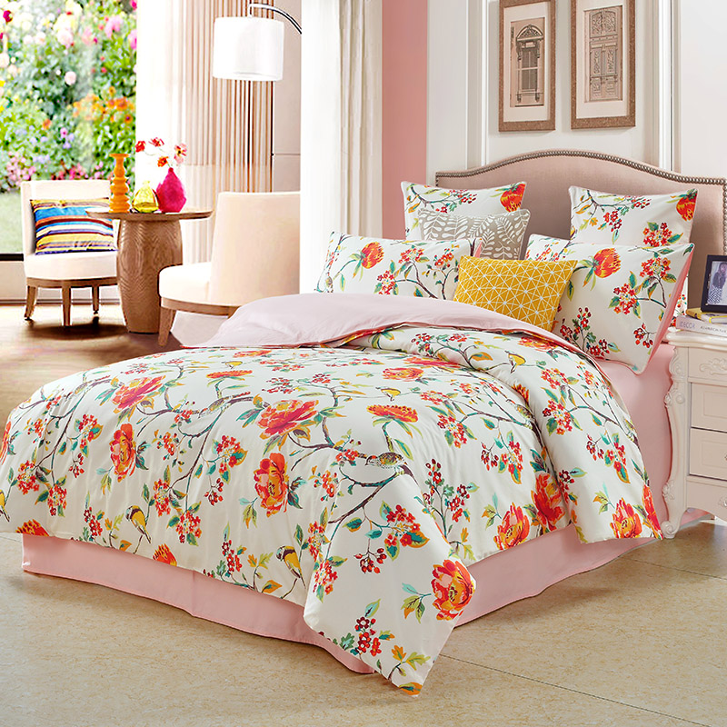 Vintage Style Watercolor Flowers Pattern 3-Piece Bedding Sets Polyester Zipper Duvet Cover with Ties Colorfast Skin-friendly