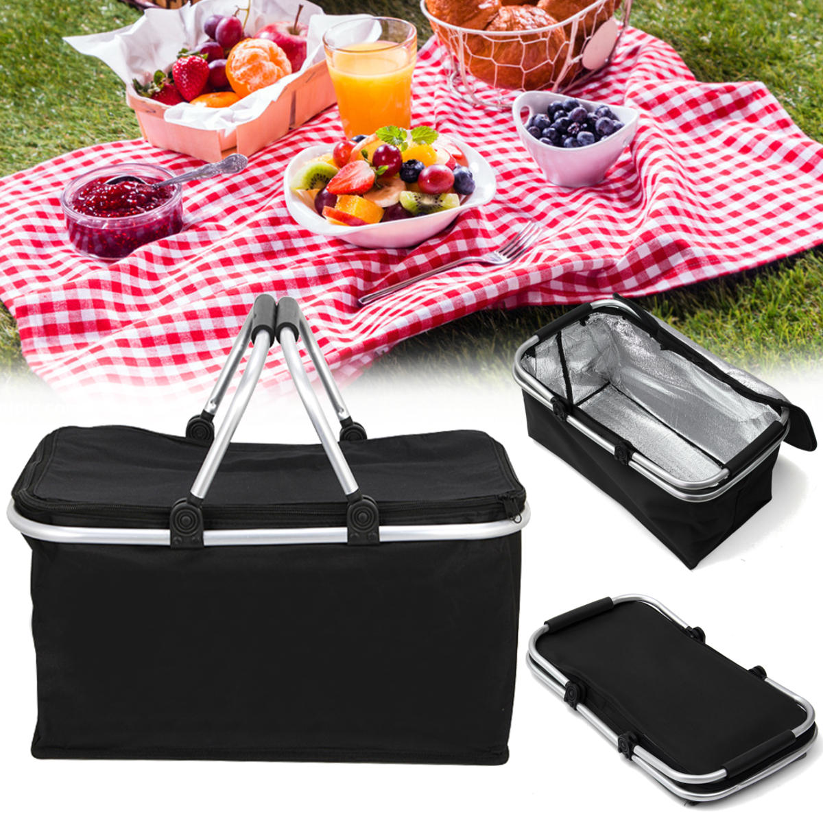 IPRee® LG1 30L Folding Picnic Storage Baskets Insulated Storage Cooler Hamper Waterproof Camping Travel Lunch Bag