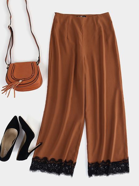 Yoins Brown Lace Trim Wide Leg Pant
