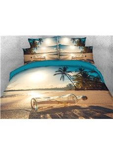 Glass Bottles On The Beach 3D Printed 5-Piece Comforter Set Colorfast Wear-resistant Ultra-soft Microfiber No-fading Twin Full Queen King