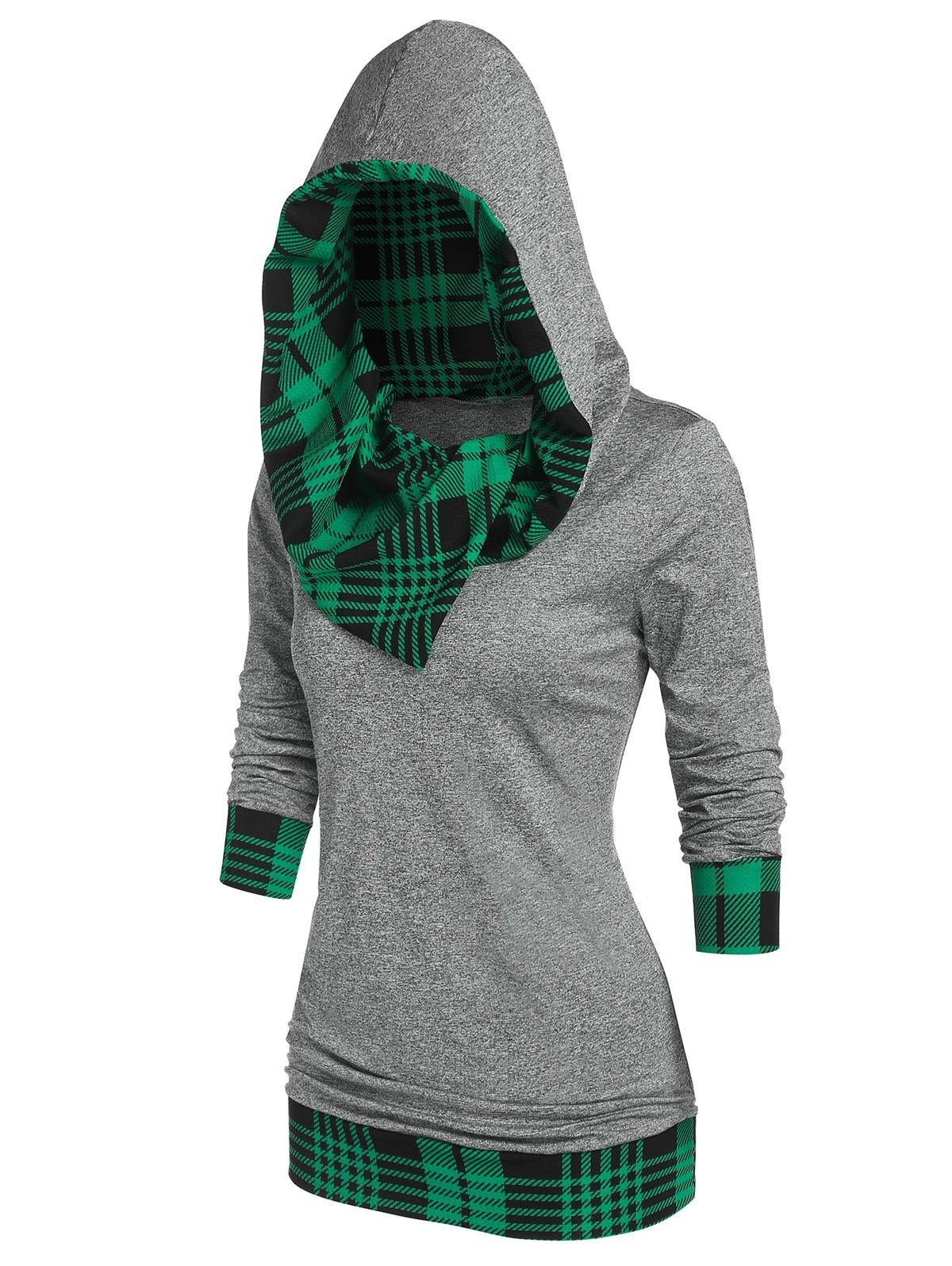 Plaid Panel Hooded Tunic T Shirt