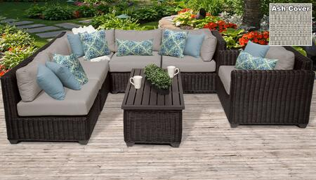 Venice Collection VENICE-07c-ASH 7-Piece Patio Set 07c with 2 Corner Chair   3 Armless Chair   1 Coffee Table   1 Club Chair - Wheat and Ash