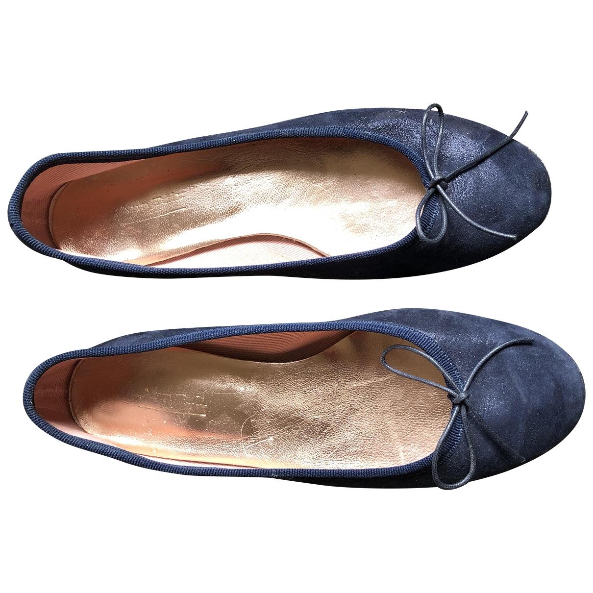 Ann Tuil \N Ballerinas in  Marine Veloursleder