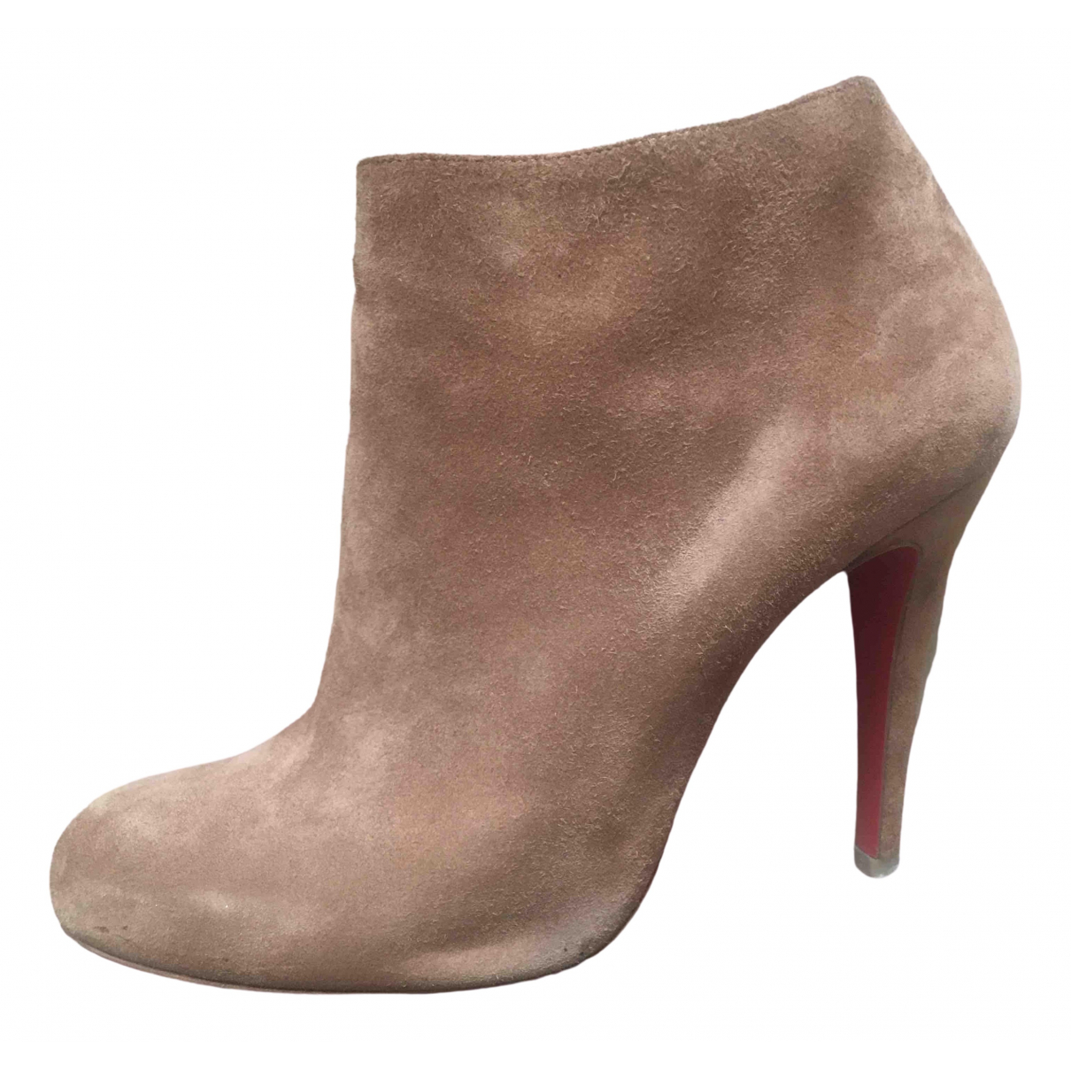 Christian Louboutin \N Camel Suede Ankle boots for Women 37 EU