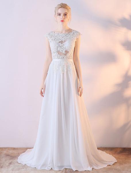 Milanoo Summer Wedding Dresses 2020 White Backless Lace Chiffon Bow Sash Beach Bridal Dress With Train
