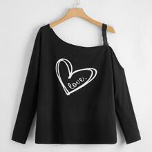 T-Shirt mit Herzen & Buchstaben Grafik und asymmetrischem Kragen