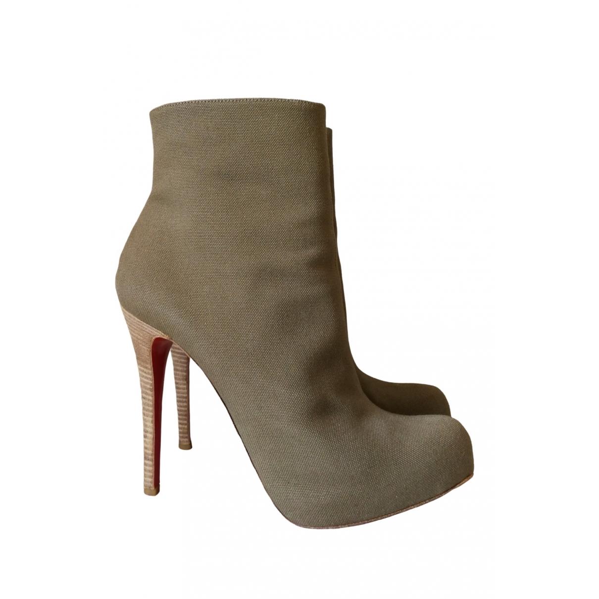 Christian Louboutin - Boots   pour femme en toile - kaki