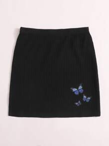 Butterfly Patched Rib-knit Skirt