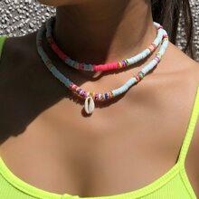 2 Stuecke Halskette mit Schale Dekor und Perlen