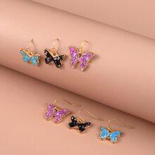 3 Paare Ohrringe mit Schmetterling Dekor