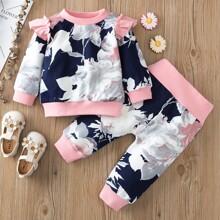 Baby Girl Floral Print Sweatshirt & Sweatpants