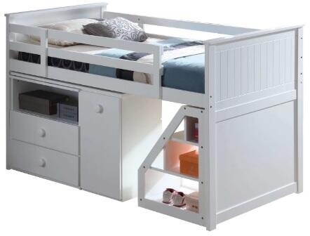 Wyatt Collection 19405T Twin Size Loft Bed with Storage Staircase  Built-In Three Drawer Swivel Desk  Movable Stairway Ladder and Chest in White