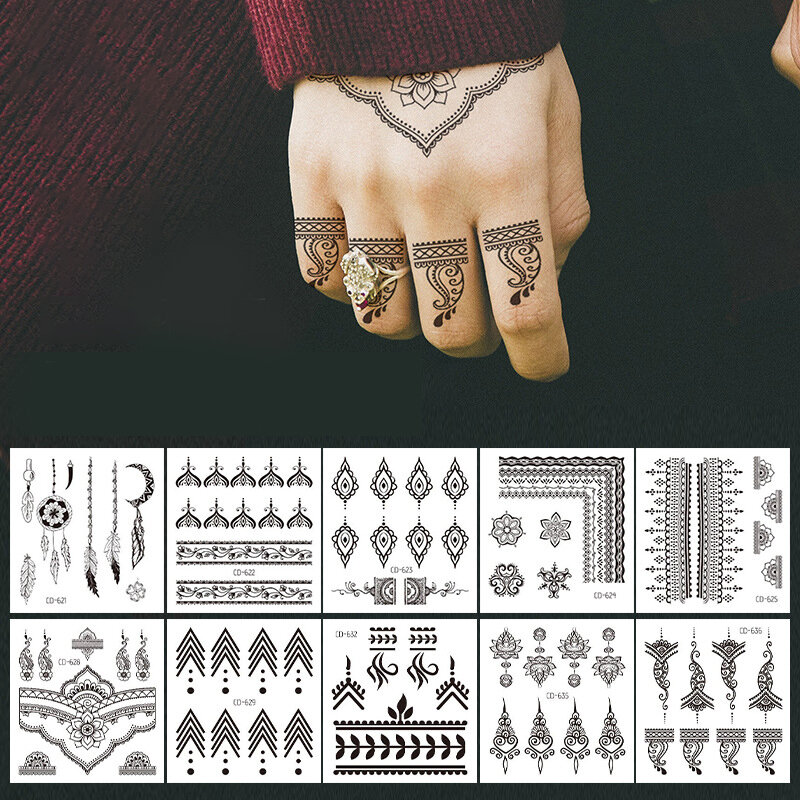 Hand Back Finger Temporary Tattoo Sticker Waterproof Sweatproof Body Art Fake Tattoo Transfer Paper