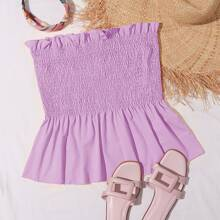 Plus Shirred Frill Tube Top