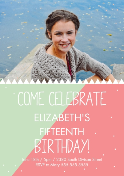 Birthday Party Invites Flat Matte Photo Paper Cards with Envelopes, 5x7, Card & Stationery -Triangle Teen BDay