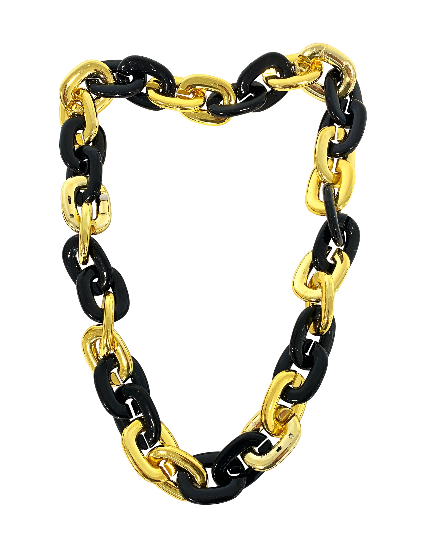 Kostuemzubehor Halskette gross schwarz/gold mit LED