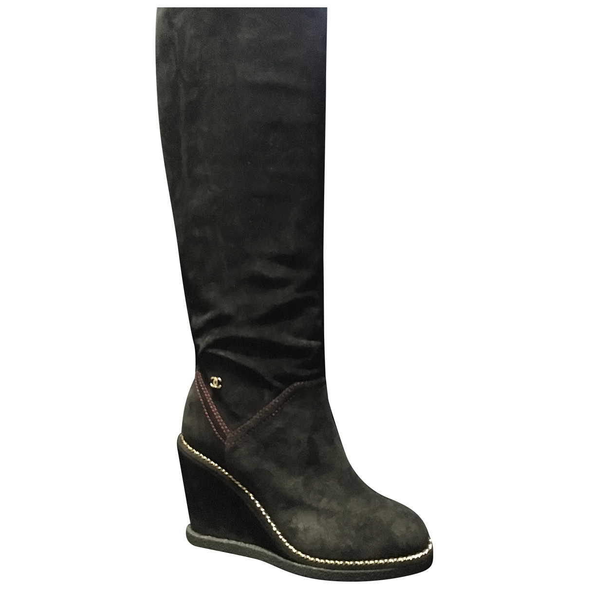 Chanel \N Black Suede Boots for Women 36 EU