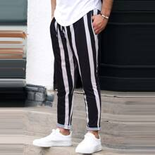 Guys Striped Drawstring Waist Sweatpants