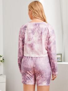 Plus Tie Dye Raglan Sleeve PJ Set
