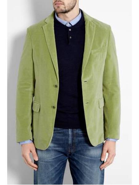 Mens Mint ~ Lime Green Velvet Blazer Sport Coat Jacket