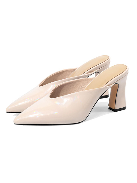 Milanoo White Mules Shoes Patent Pointed Toe V-cut Chunky Heel Slippers