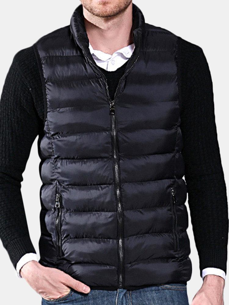 Mens Winter Plus Size Thin Sleeveless Zipper Solid Color Warm Vest