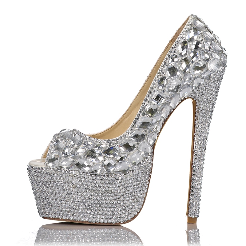 Ericdress Rhinestone Peeo Toe Platform Stiletto Heel Wedding Shoes