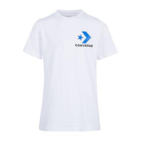 Converse Big Boys Crew Neck Short Sleeve Graphic T-Shirt, Large (14-16) , White