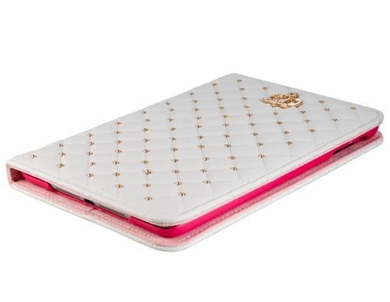 Crystal Decorated Crown Pattern Faux Leather Flip Case for iPad Mini 1/2/3 -White