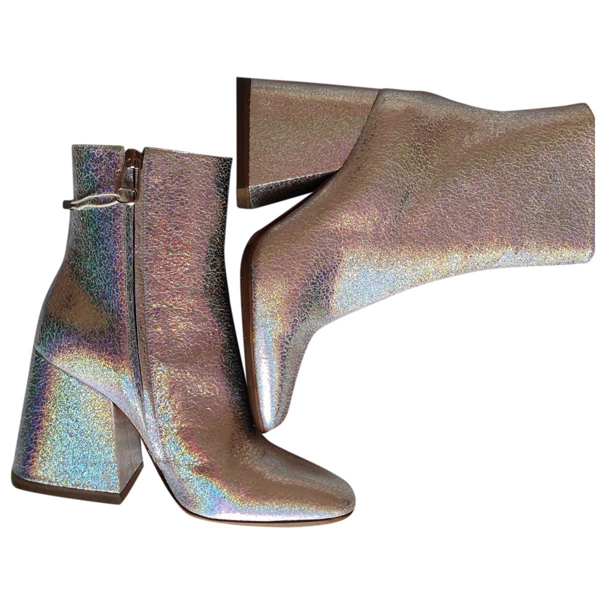 Maison Martin Margiela - Boots   pour femme en cuir - argente