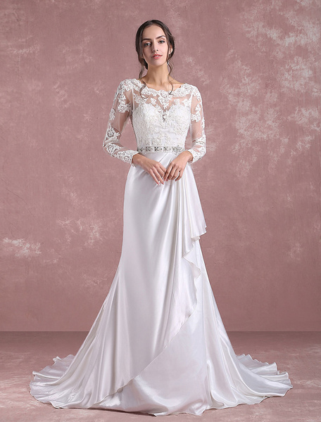 Milanoo Lace Wedding Dress Ivory Long Sleeve Bridal Dress Backless Satin Sweetheart Applique Beading Sash A Line Bridal Gown With Chapel Train