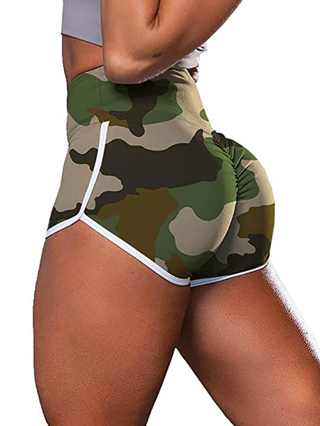 Yoins Camo Super Stretch Middle-Waisted Shorts