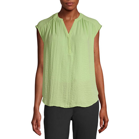 Worthington Womens Y Neck Sleeveless Tank Top, Medium , Green