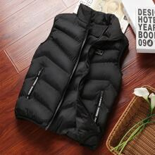Men Letter Patched Zip Up Puffer Gilet