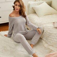 Conjunto de pijama tejido waffle unicolor