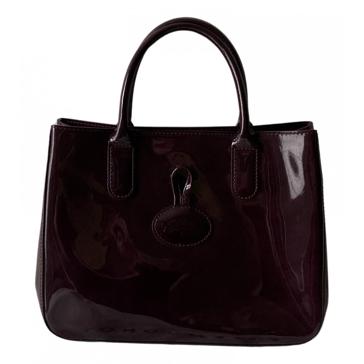 Longchamp Roseau Purple Patent leather handbag for Women N