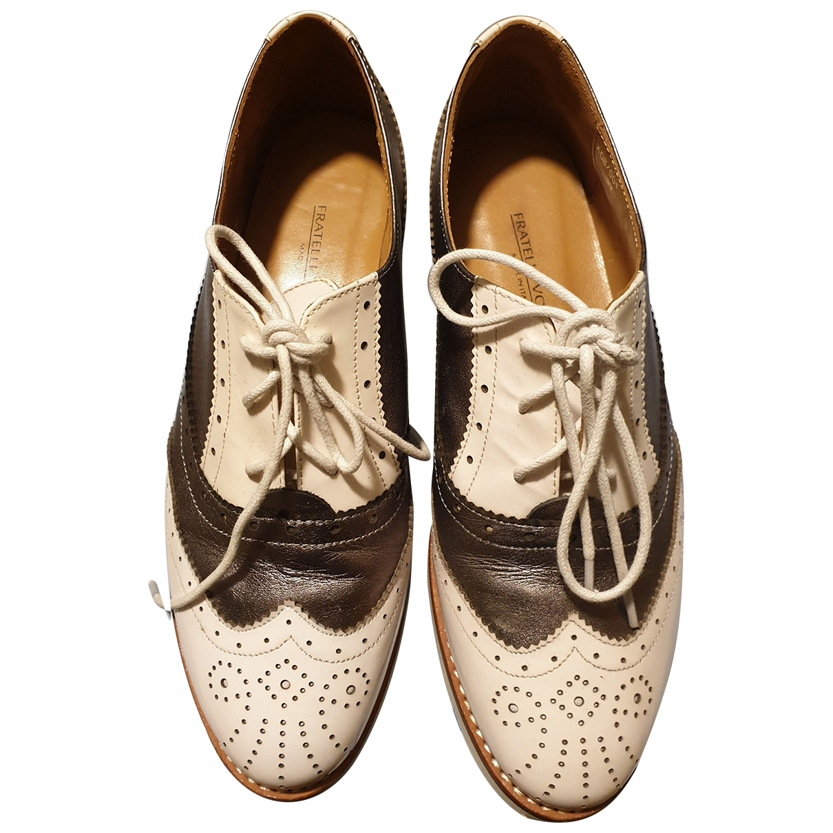 Non Signé / Unsigned \N White Leather Lace ups for Women 39 IT