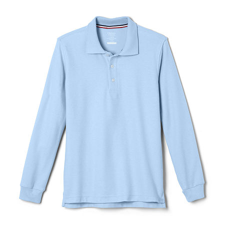 French Toast Big Boys Long Sleeve Polo Shirt, 20 Husky , Blue
