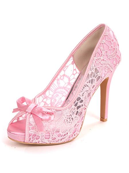 Milanoo Zapatos de boda blancos Lazos de encaje Peep Toe Tacon de aguja Zapatos de novia Zapatos de invitados de boda