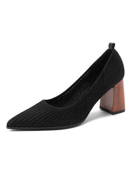 Milanoo Women\'s Pumps Slip-On Pointed Toe Color Block Chunky Heel Retro Vintage Shoes
