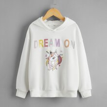 Girls Glitter Unicorn and Slogan Graphic Hoodie