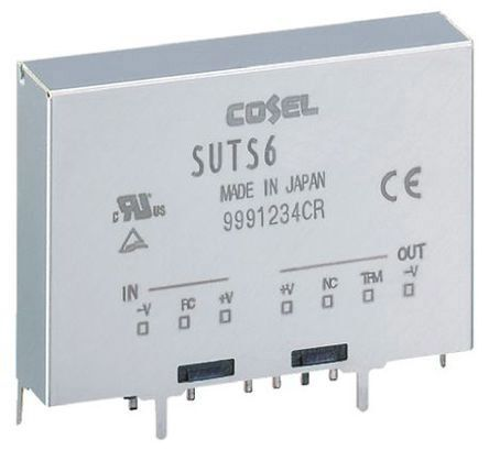 Cosel 3.96W Isolated DC-DC Converter Through Hole, Voltage in 4.5 → 9 V dc, Voltage out 3.3V dc