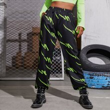 Elastic Waist Pocket Side Graphic Sweatpants