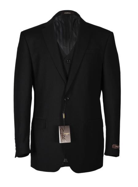 Vitarelli Men's Fashion Fit Cut Notch Lapel Black 2 Button Vested Suit