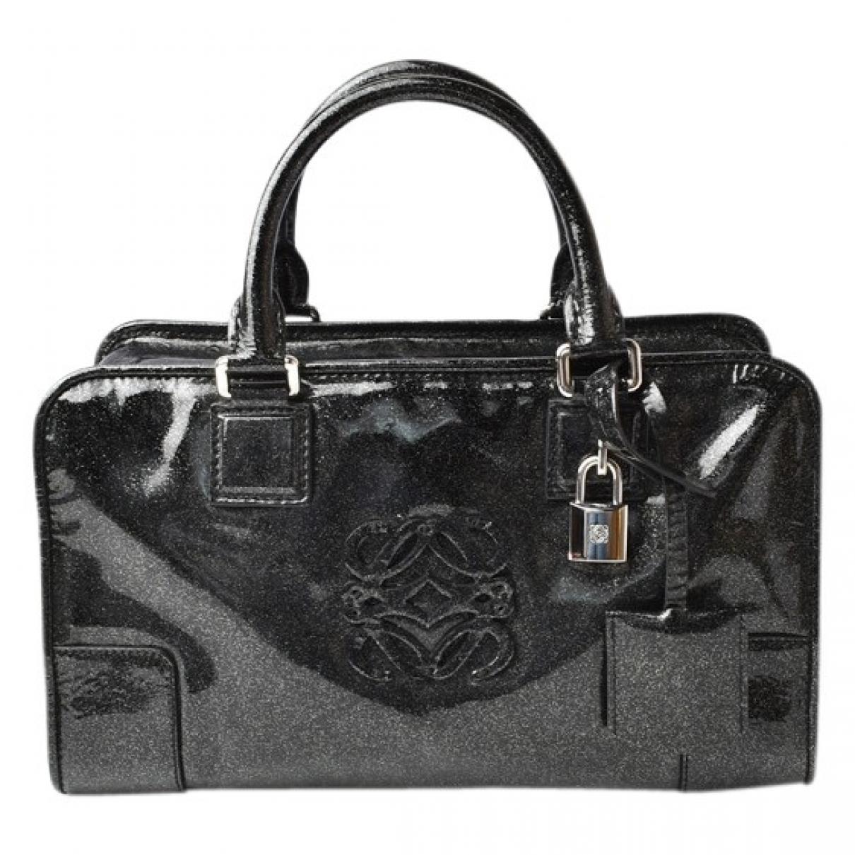 Loewe Amazona Handtasche in  Schwarz Lackleder