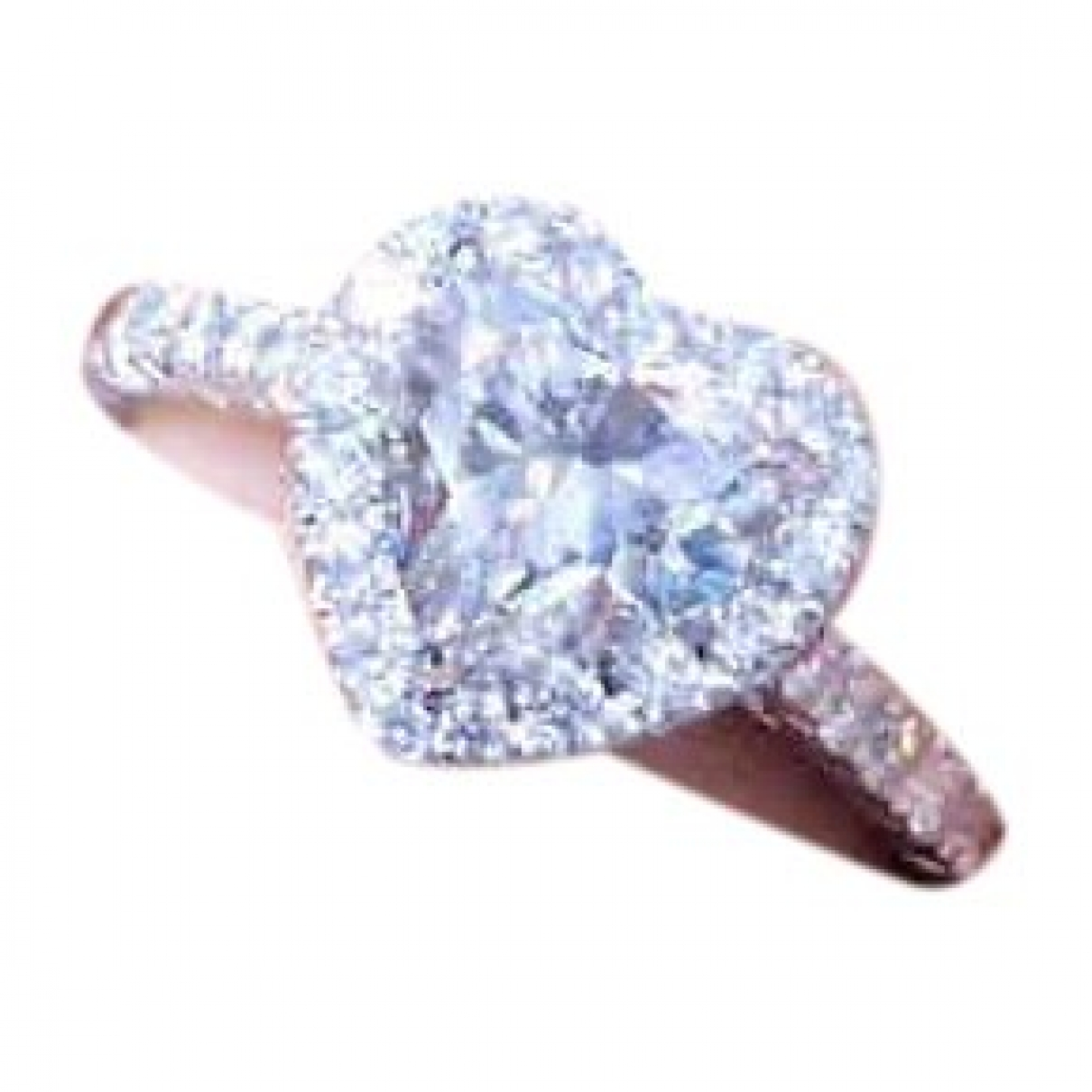 Non Signe / Unsigned Motifs Coeurs Ring in  Weiss Weissgold
