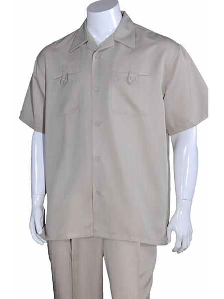 Men's 5 Button Casual Sleeve Solid Khaki 100% Polyester Walking Suits