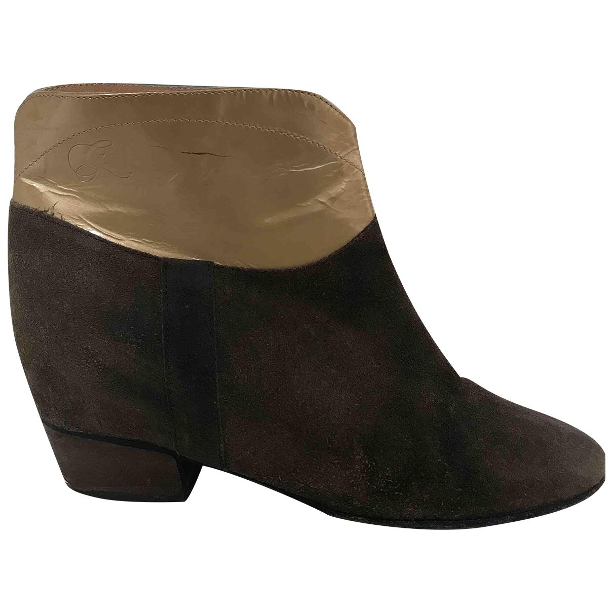 Golden Goose - Boots   pour femme en suede - marron