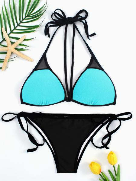 Yoins Sky Blue Lace-up Tie Back Bikini & Black Bottom Set