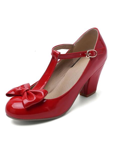 Milanoo Tacones medio-bajos para mujer Vendaje tipo T Encantadores zapatos de tacon grueso con punta redonda con lazos